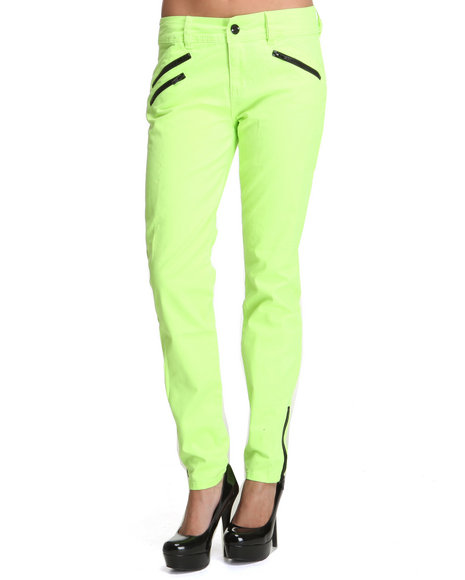 Baby Phat Women Yellow Multi Zip Ankle Skinny Jeans