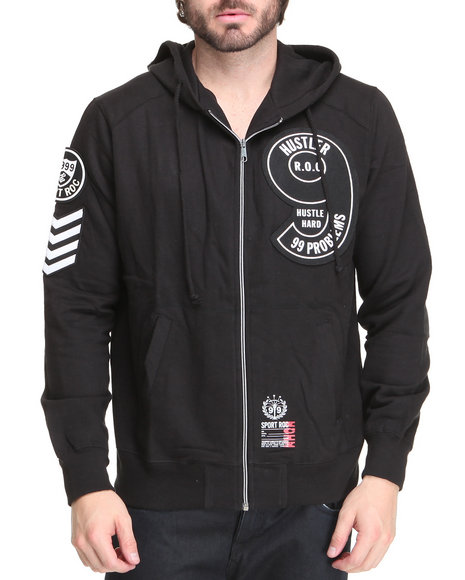 Rocawear Men Black Ima Hustler Zip-Up Hoodie