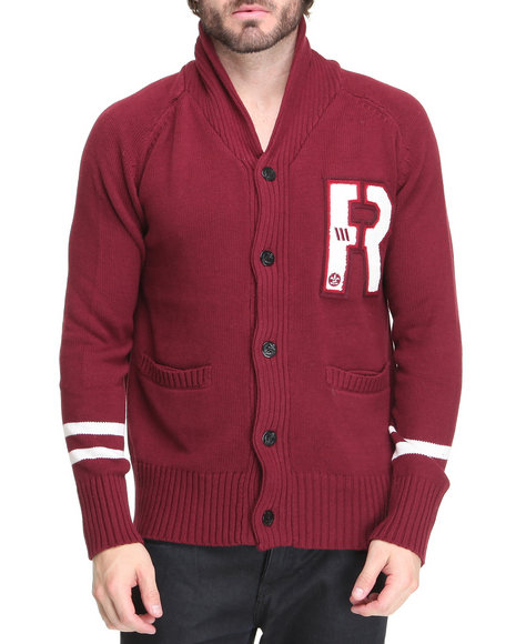 Rocawear Men Maroon R Cardigan Sweater