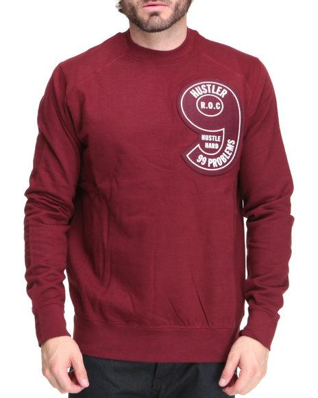 Rocawear Men Maroon Ima Hustler Crewneck Sweatshirt