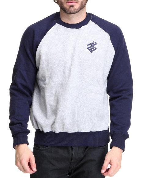 Rocawear Men Grey Heavyweight Color - Block Crewneck Sweatshirt