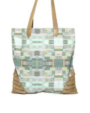 Collina Strada - Toto Watercolor Patches Tote w/ Moss Leather Pleat Detail