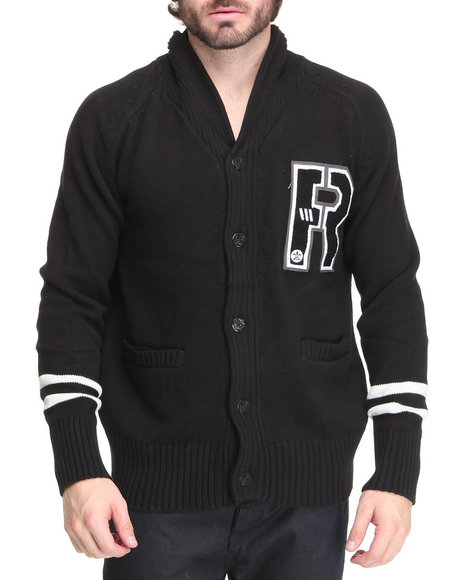 Rocawear Men Black R Cardigan Sweater