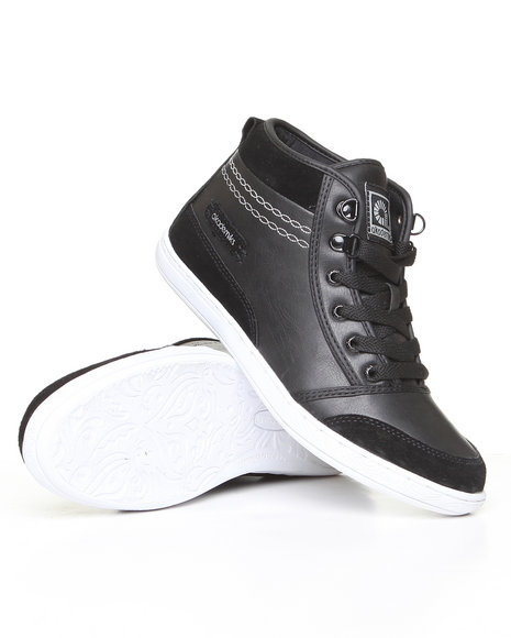 Akademiks Women Black Leather & Nubuck Sneaker