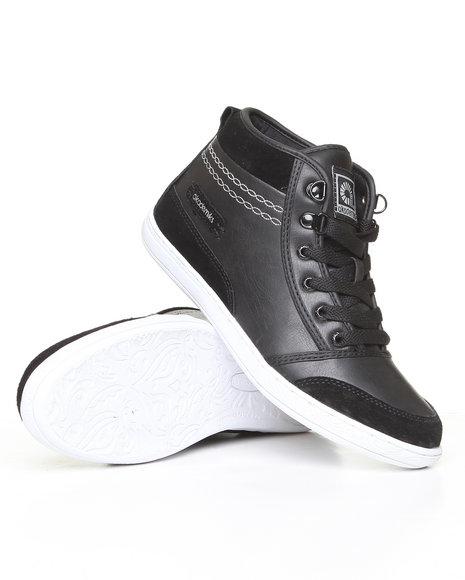 Akademiks Women Black Leather & Nubuck Sneaker