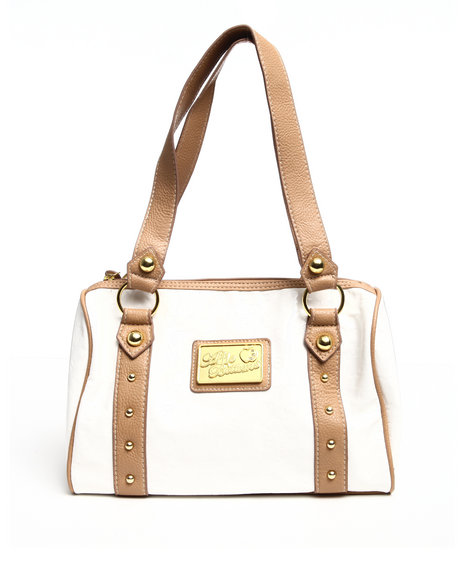 bossy embossed patent 4 ring satchel