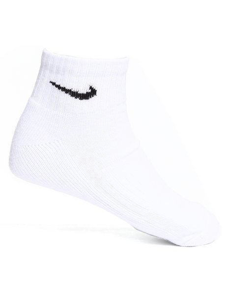 Nike Men White 6Pk Band Cotton Quarter Socks