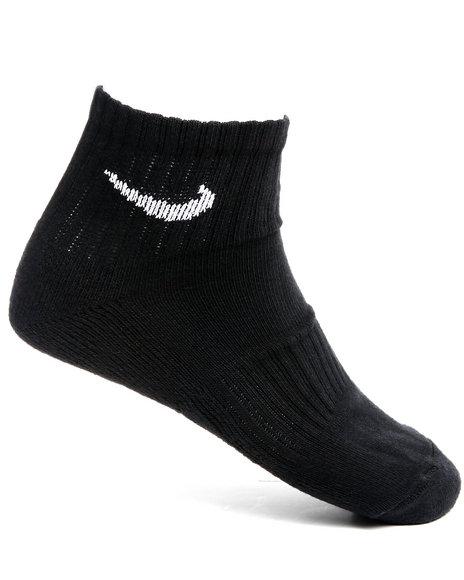Nike Men Black 6Pk Band Cotton Quarter Socks