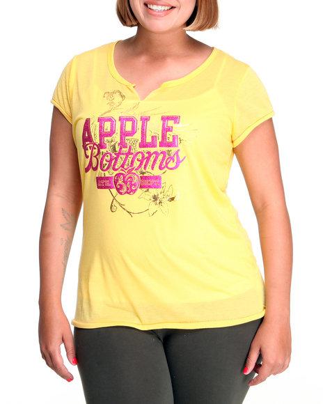 Apple Bottoms Women Yellow Ab Logo Split Neck Tee (Plus Size)