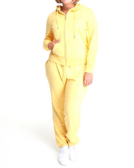 Apple Bottoms Women Yellow Around The Way Active Hoodie Set (Plus Size)