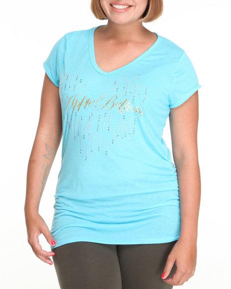 Apple Bottoms Women Blue Teardrop Ab Logo V-Neck Tee (Plus Size)