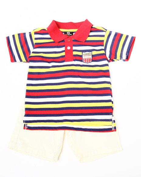 Akademiks Boys Navy,Red,Yellow 2 Pc Set - Polo & Shorts (2T-4T)