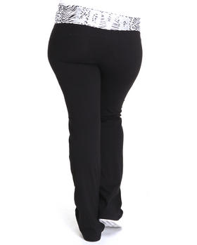 Basic Essentials - Animal Print Waist Band Yoga Pants (plus)