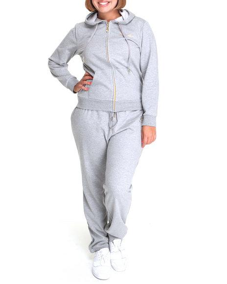 Apple Bottoms Women Grey Around The Way Active Hoodie Set (Plus Size)