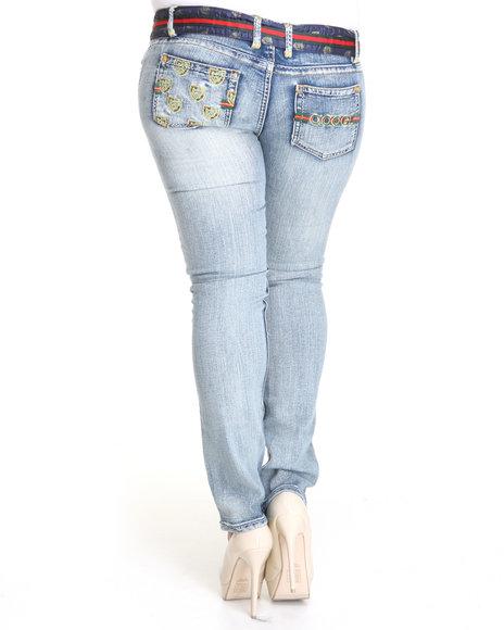 COOGI Women Blue Coogi Belted Slim Jeans