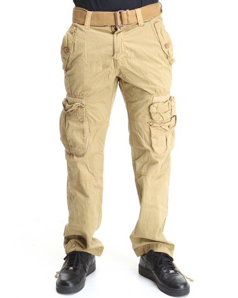 belted washed cargo pants