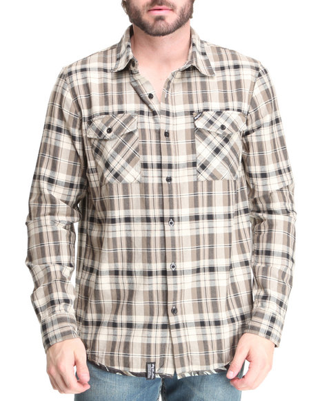 LRG Men Black, Olive Regiment L/S Button-Down
