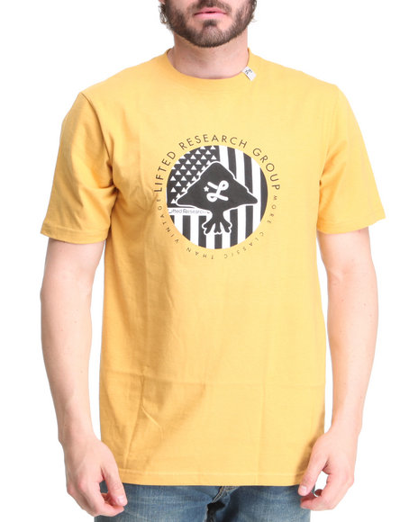 LRG Men Yellow Trees And Stripes Tee