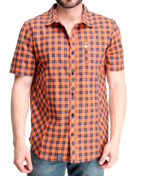 LRG Men Orange Constant Elevation Ss Woven Shirt