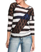 Long-Sleeve - Lo 3/4 sleee stripe tee w/lace detail
