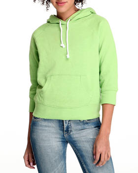 Basic Essentials - SOLID PULLOVER FLEECE LIGHTWEIGHT JACKET WITH HOOD