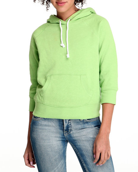 Basic Essentials Women Lime Green Solid Pullover Fleece Lightweight Jacket With Hood