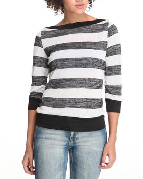Basic Essentials - Penny 3/4 sleeve stripe tee