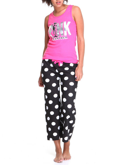 Graphix Gallery Women Pink Pink Panther Knit Tank And Knit Capri Set