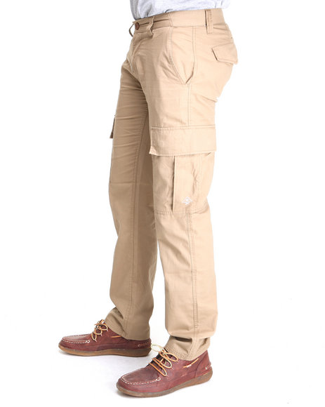 LRG Men Khaki Core Collection True-Straight Cargo Pants
