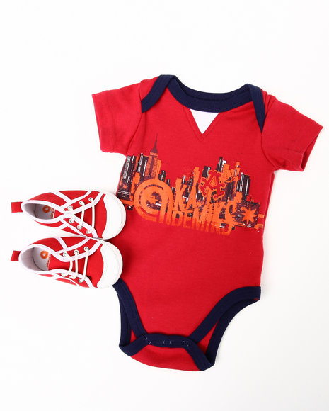 Akademiks Boys Red 2 Pc Creeper W/ Shoes (Newborn)