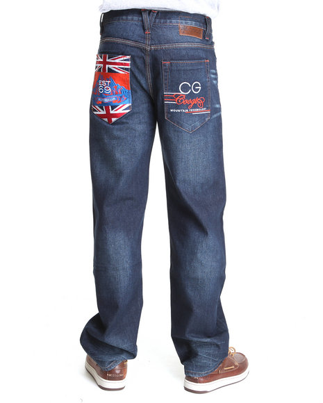 Coogi Men Dark Blue Expedition Blue/Black Blue Wash Denim Jeans