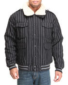 Buyers Picks - Striped Bomber Jacket w/ detachable sherpa collar
