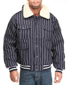Outerwear - Striped Bomber Jacket w/ detachable sherpa collar