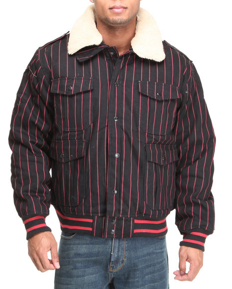 striped bomber jacket w/ detachable sherpa collar