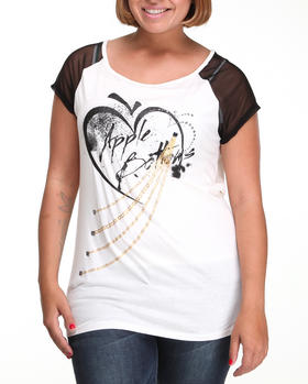 Apple Bottoms - Sheer Sleeve Raglan Graphic Tee (Plus)