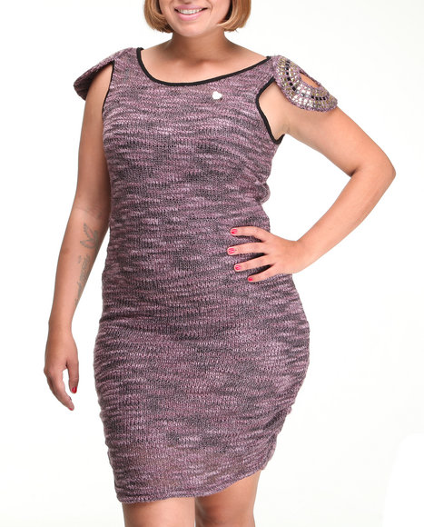 Apple Bottoms - Women Purple Beaded Cap Sleeve Sweater Heather Hacci Dress (Plus) - $17.99