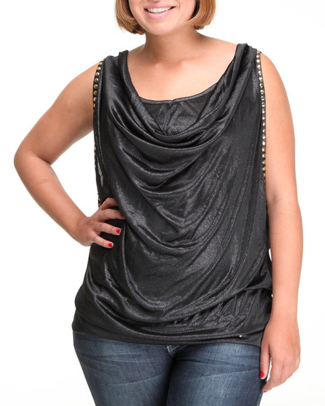 Apple Bottoms Women Black Fashion Studded Layered Top (Plus Size)