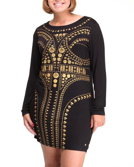 Apple Bottoms Women Black Long Sleeve Sexy Vogue Dress (Plus Size)