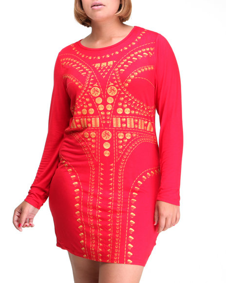 Apple Bottoms Women Red Long Sleeve Sexy Vogue Dress (Plus Size)