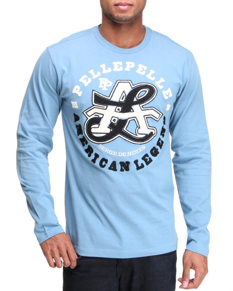Pelle Pelle Men Light Blue L/S American Legend Knit Shirt