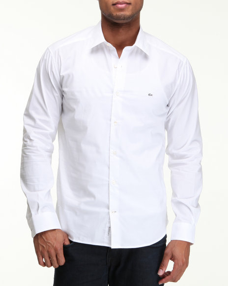 Lacoste Men White City L/S Solid Comfort Button-Down