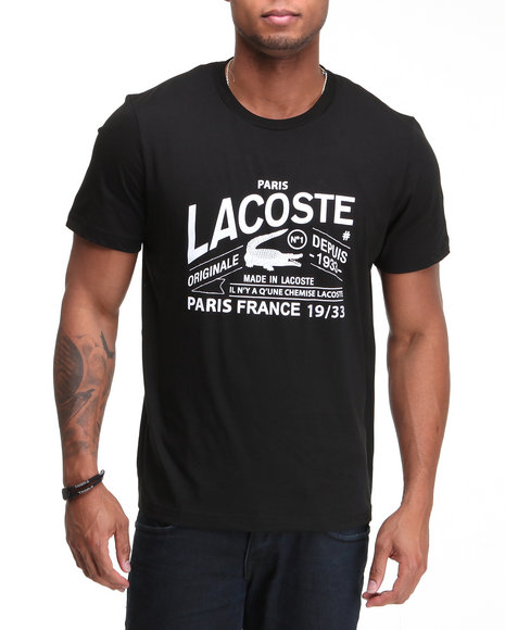 Lacoste Men Black S/S Lacoste And Croc Graphic Tee