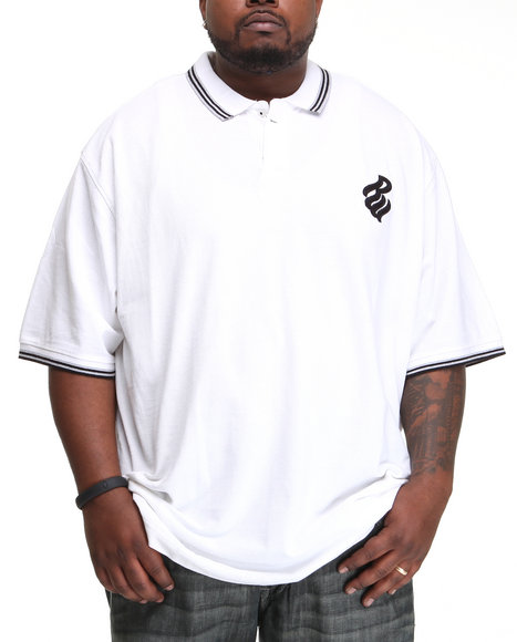 Rocawear Men S/S Flame Polo (B & T) White 3Xlb