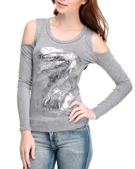 Fashion Lab - Long sleeve cold shoulder skull top