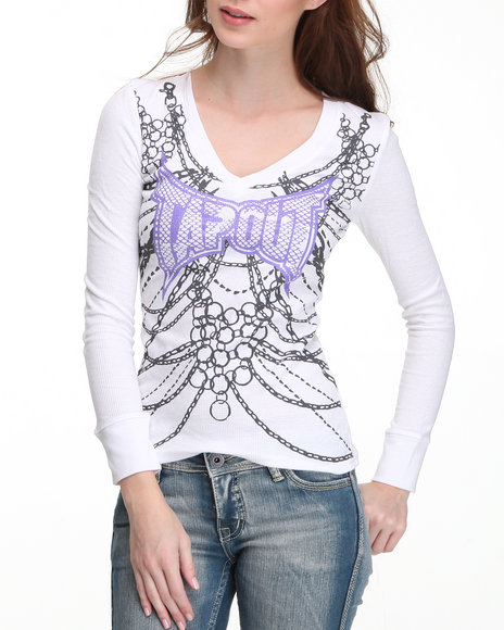 TAPOUT Women White No Surrender Thermal Tee