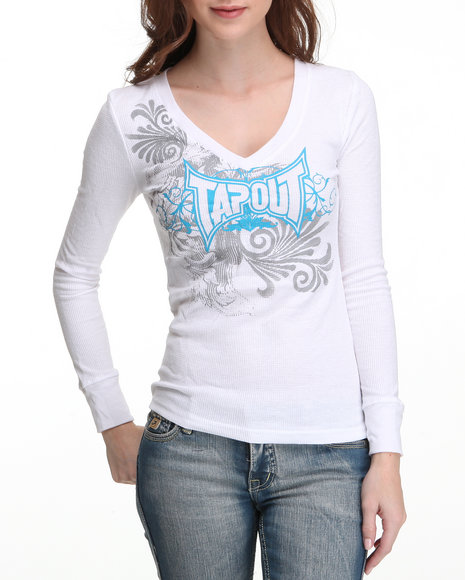 TAPOUT Women White Thermal Tee