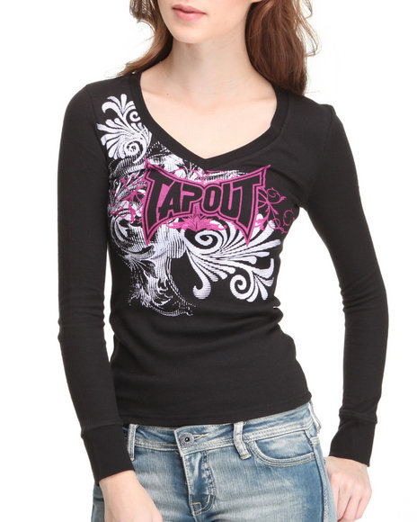 TAPOUT Women Black Thermal Tee