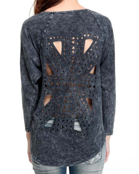 Fashion Lab Women Grey Laser Cut Long Sleeve Pullover Top