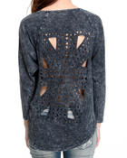 Long-Sleeve - Laser cut long sleeve pullover Top