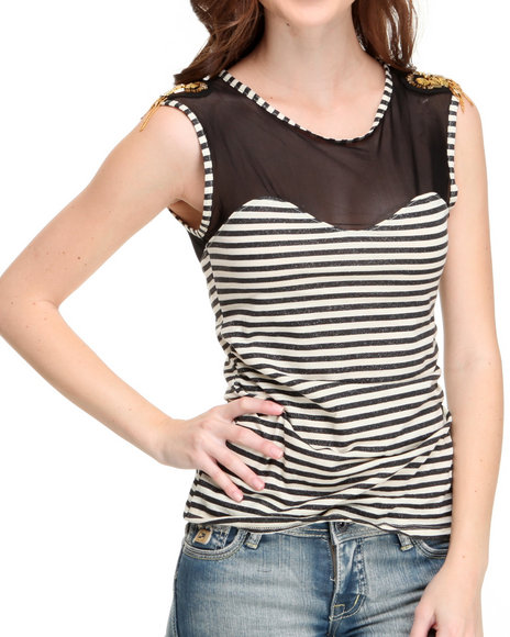 Apple Bottoms Women Ivory Jeweled Shoulder Illusion Striped Top